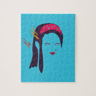 Design Geisha on blue Jigsaw Puzzle