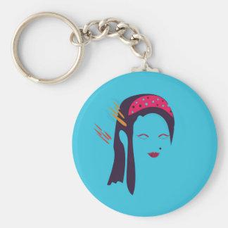 Design Geisha on blue Key Ring