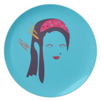 Design Geisha on blue Plate