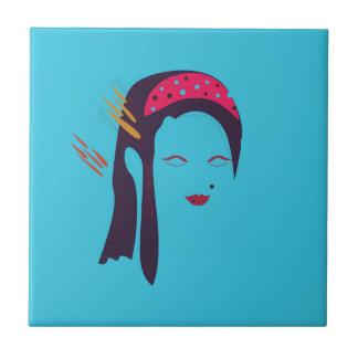 Design Geisha on blue Tile