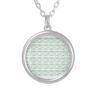 Design leaves edition green white silver plated necklace