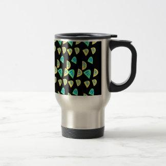 Design lemons on black travel mug