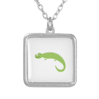 Design Lizard green on white Silver Plated Necklace