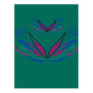 Design mandala Ethno Green Postcard