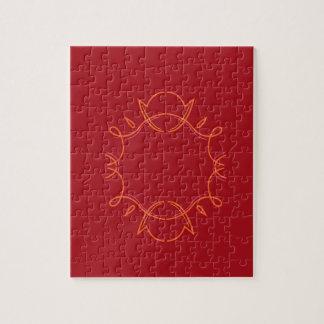 Design mandala on red jigsaw puzzle