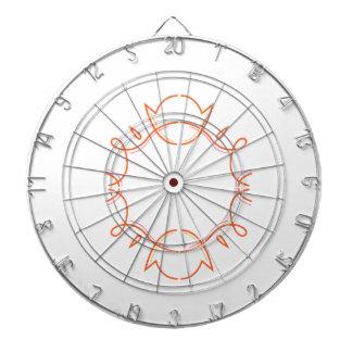 Design monogram on white dartboard
