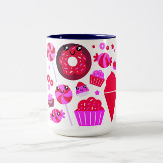 Design mug with sweet Donuts