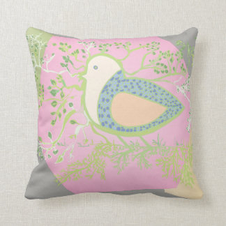 Design of a bird surrounded by tree with branches cushion