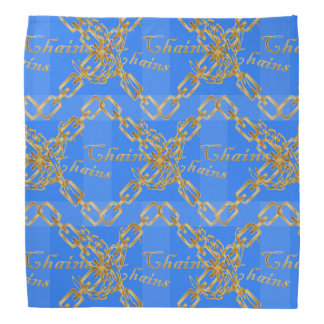 Design of Gold Chains on Blue Bandanna