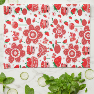 design of strawberries and cakes hand towel
