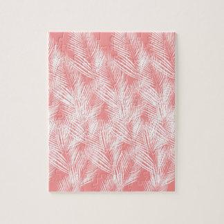 Design palms pink white exotico jigsaw puzzle