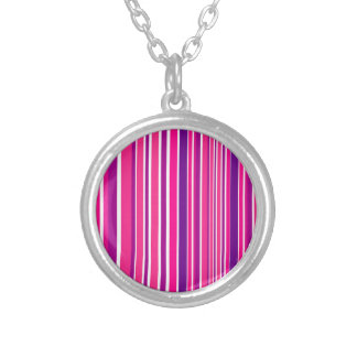Design pink Bamboo elements Silver Plated Necklace