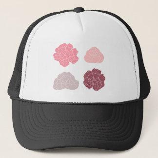 DESIGN ROSES PINK ON WHITE TRUCKER HAT