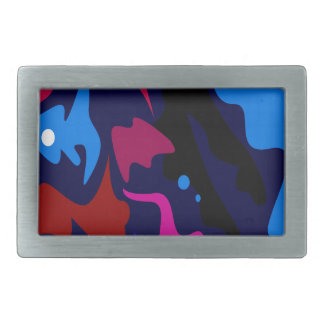 Design splash ethno dots blue rectangular belt buckle