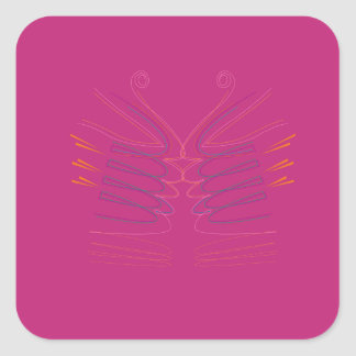 Design wings pink ethno square sticker