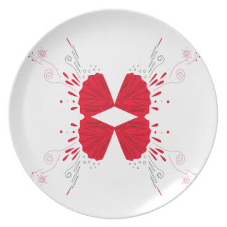 Design wings Tattoo on white Plate