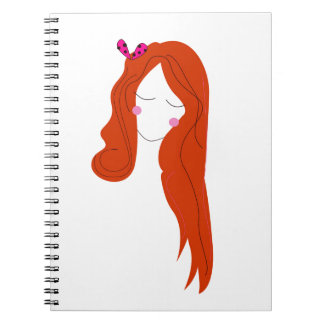 Design woman with long hair on white notebook