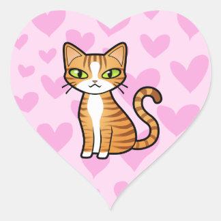 Design Your Own Cartoon Cat (love hearts) Heart Sticker