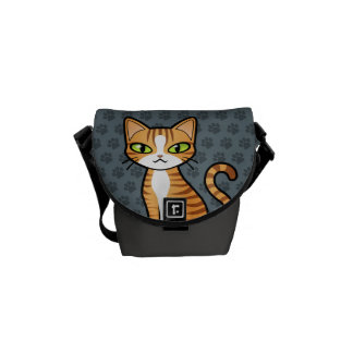 Design Your Own Cartoon Cat Messenger Bag