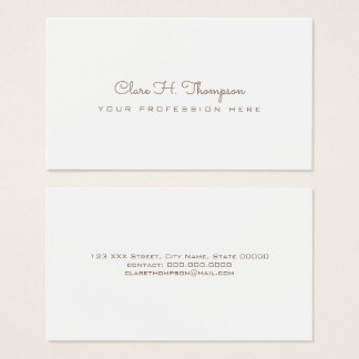 design your own elegant and minimalist white fem business card