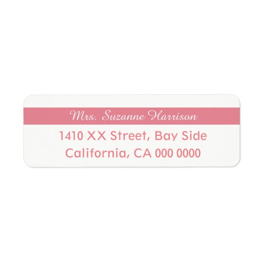 design your own feminine striped pink Mrs. Return Address Label