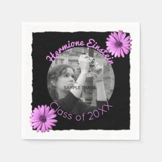 Design Your Own Graduation Photo | Purple Daisies Disposable Serviettes