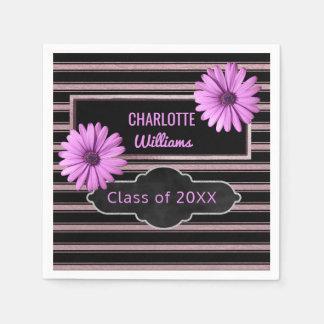 Design Your Own Graduation | Purple Flowers Stripe Disposable Napkin