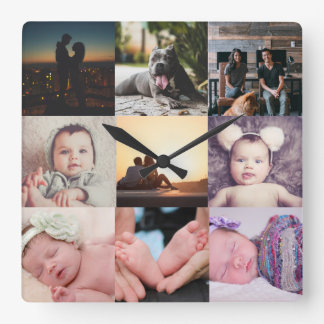 Design Your Own Nine Photo Collage Template Square Wall Clock