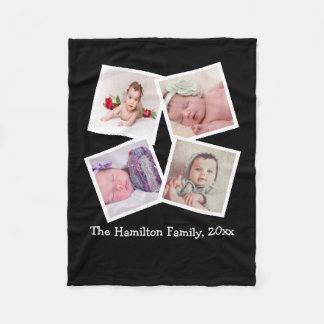 Design Your Own One of a Kind Personalized 4 Photo Fleece Blanket