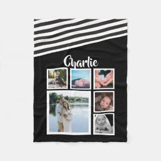 Design Your Own Personalized Black and White Fleece Blanket