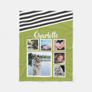 Design Your Own Personalized Bright Green Striped Fleece Blanket