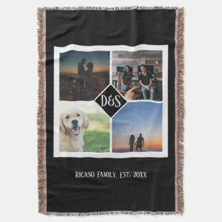 Design Your Own Personalized Monogrammed 4 Photo Throw Blanket