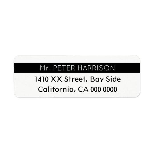 design your own striped blk & white Mr. Return Address Label