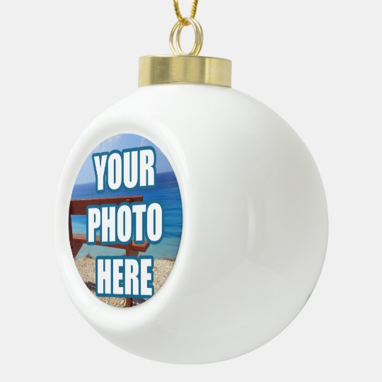 Design your own unique personalised ceramic ball christmas ornament