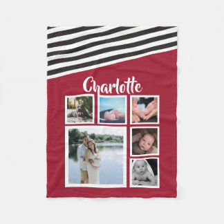 Design Your Own Unique Personalized Red Striped Fleece Blanket