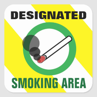 Designated Smoking Area Sign Square Sticker