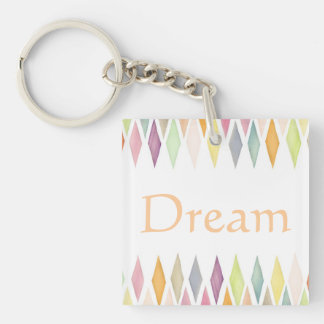 Designed watercolor background Double-Sided square acrylic key ring
