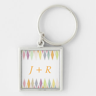 Designed watercolor background Silver-Colored square key ring