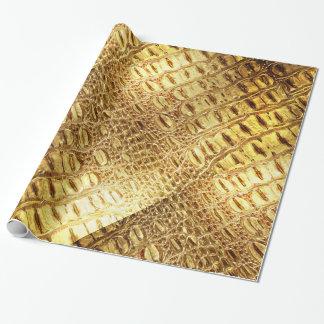 Designer Alligator Crocodile Skin Shiny Gold Brown