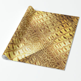 Designer Alligator Crocodile Skin Shiny Gold Brown Wrapping Paper