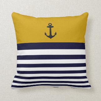 Designer Anchor Nautical Stripes Decorative Pillow