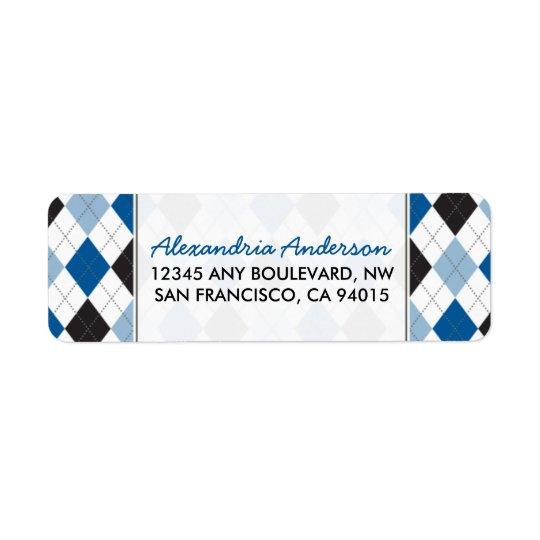 Designer Argyle Return Address Label (blue/black)