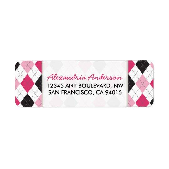 Designer Argyle Return Address Label (pink/black)