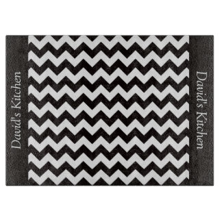 Designer Black Chevron Glass Cutting Board