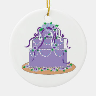 Designer Cake in Shades of Purple Ceramic Ornament