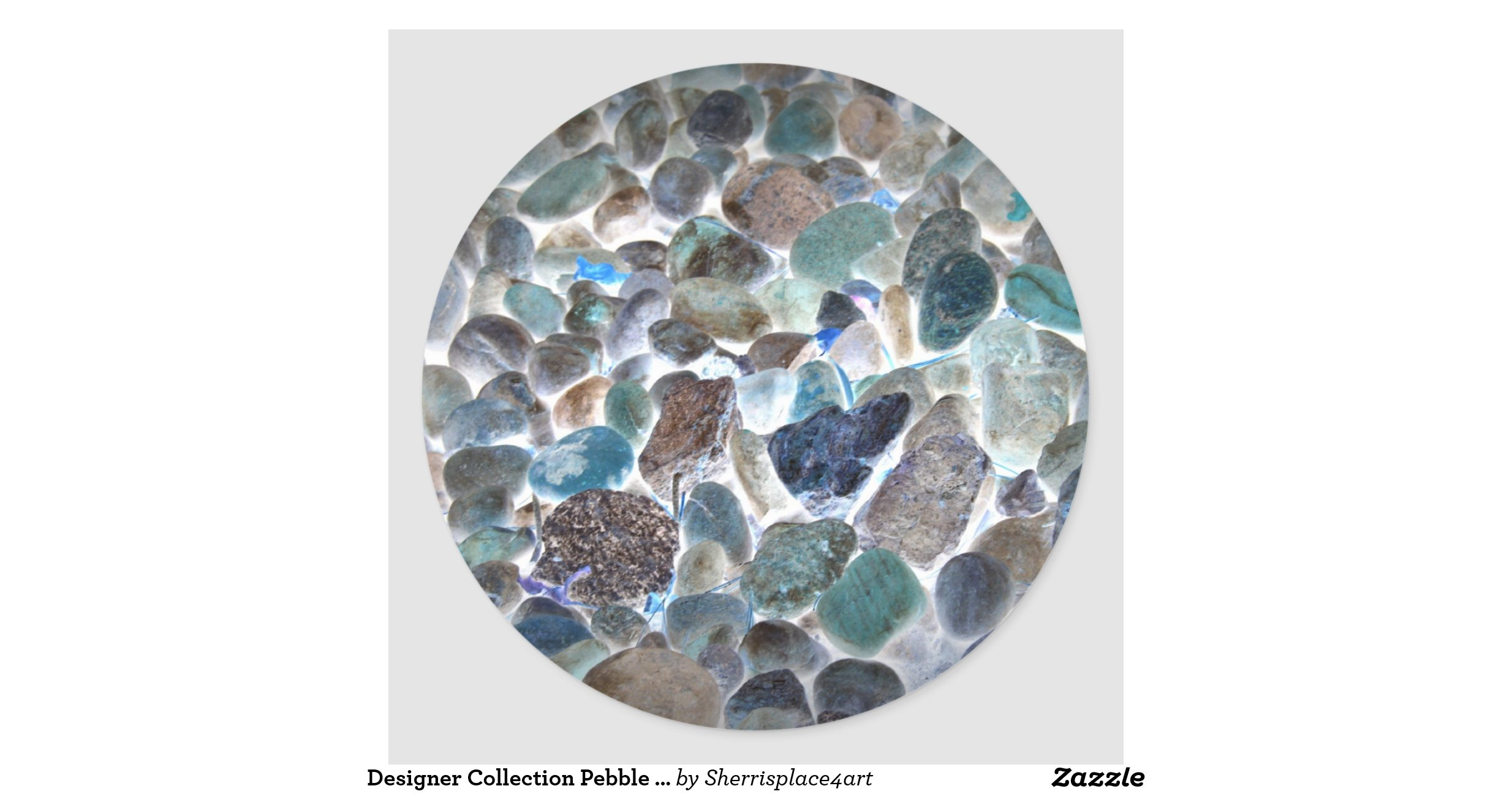 Designer collection pebble beach by sherri round sticker for Pebble beach collection