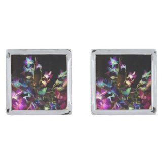 Designer cufflinks with midnight orchids silver finish cufflinks