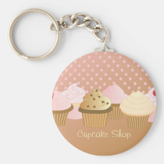 Designer Cupcakes Basic Round Button Key Ring