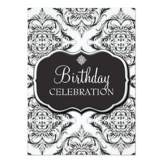 Designer Damask Motif in Black & White 14 Cm X 19 Cm Invitation Card