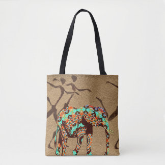 Designer Elephant African Dance Safari Colorful Tote Bag